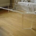 Plexiglas Tisch Wohnzimmer, farblos, Kanten umlaufend gefasst und poliert