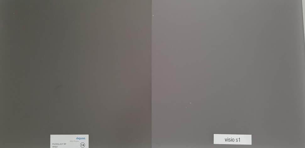 Plexiglas RP gegen VisioS1 Vergleich
