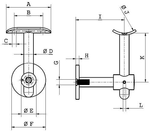 Wandhalter V2A technische Zeichnung